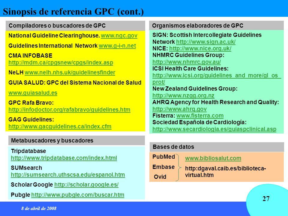 Sinopsis de referencia GPC (cont.)