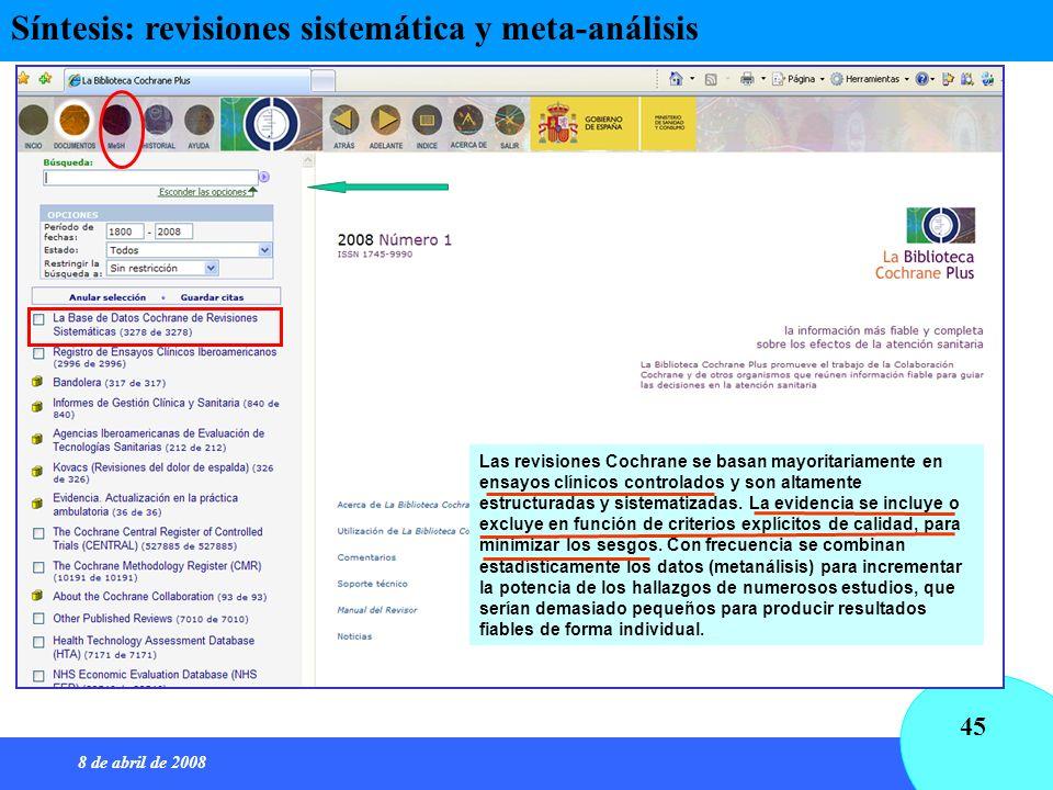 Síntesis: revisiones sistemática y meta-análisis