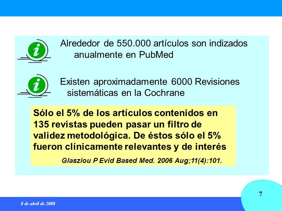 Alrededor de 550.000 artículos son indizados anualmente en PubMed