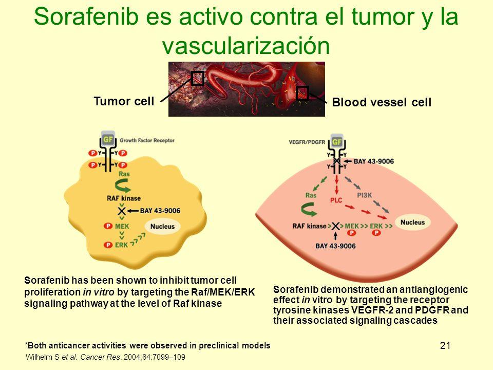 Sorafenib es activo contra el tumor y la vascularización