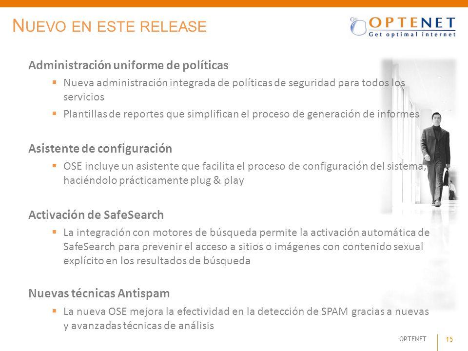 Nuevo en este release Administración uniforme de políticas