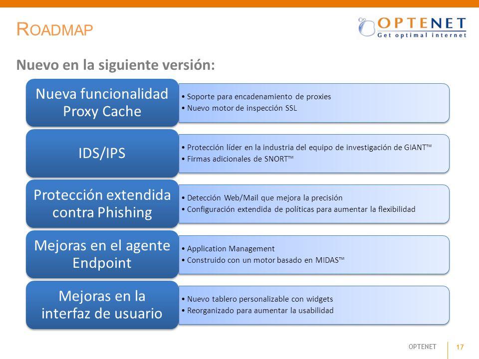 Roadmap Nuevo en la siguiente versión: Nueva funcionalidad Proxy Cache