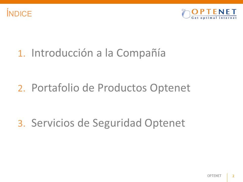 Introducción a la Compañía Portafolio de Productos Optenet