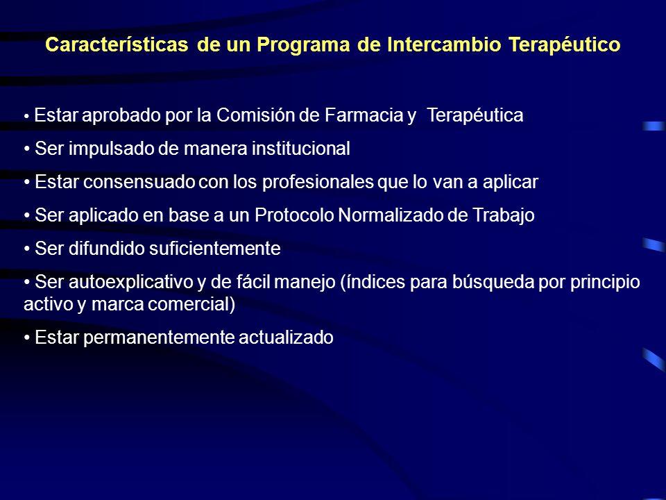 Características de un Programa de Intercambio Terapéutico