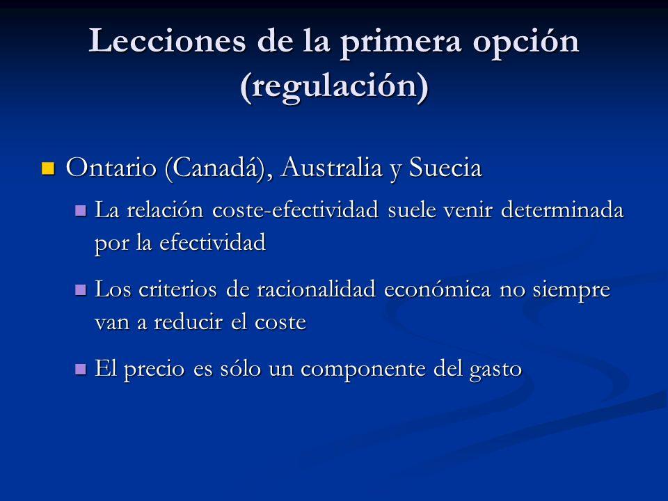 Lecciones de la primera opción (regulación)