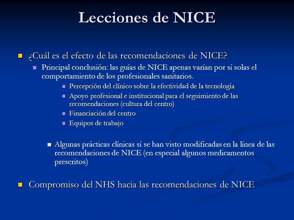 Lecciones de NICE ¿Cuál es el efecto de las recomendaciones de NICE