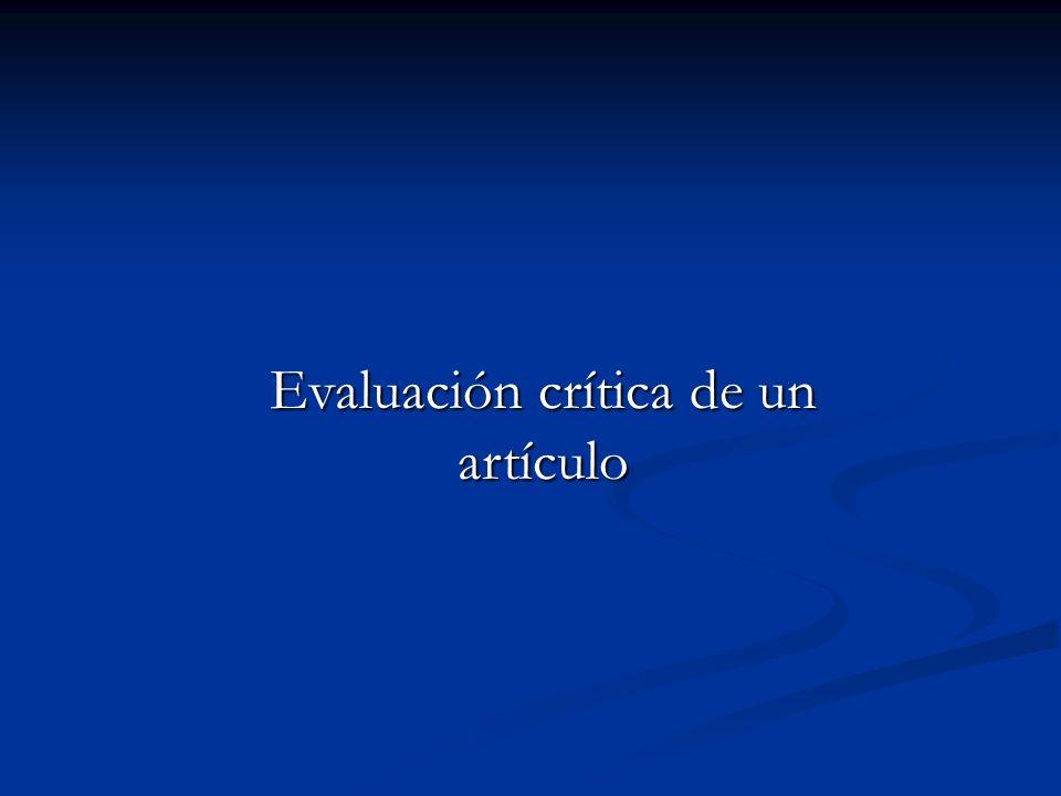 Evaluación crítica de un artículo