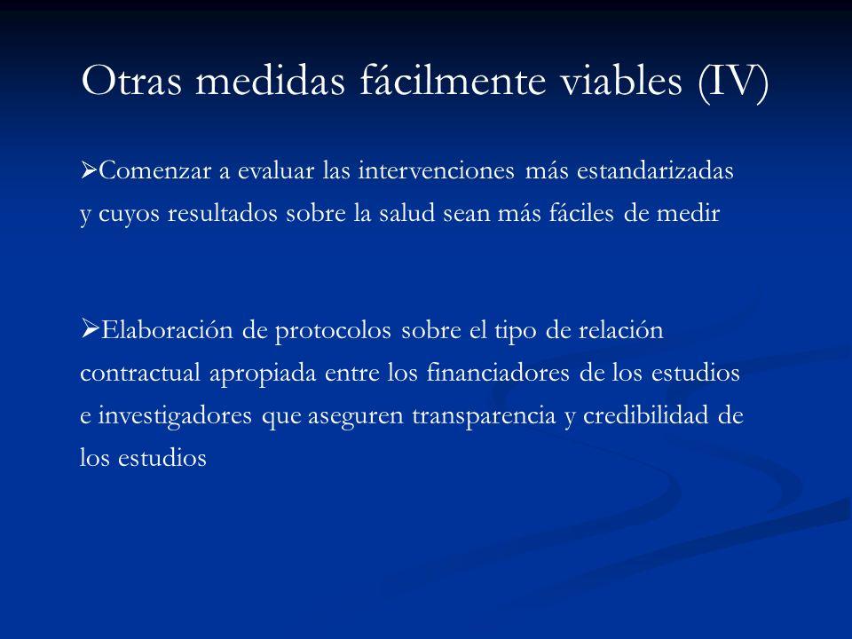 Otras medidas fácilmente viables (IV)