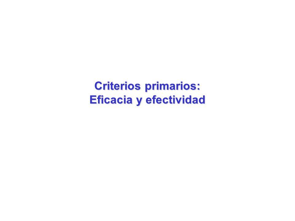 Criterios primarios: Eficacia y efectividad