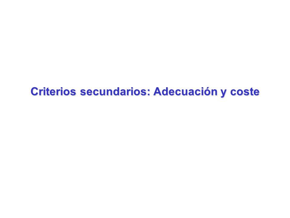 Criterios secundarios: Adecuación y coste