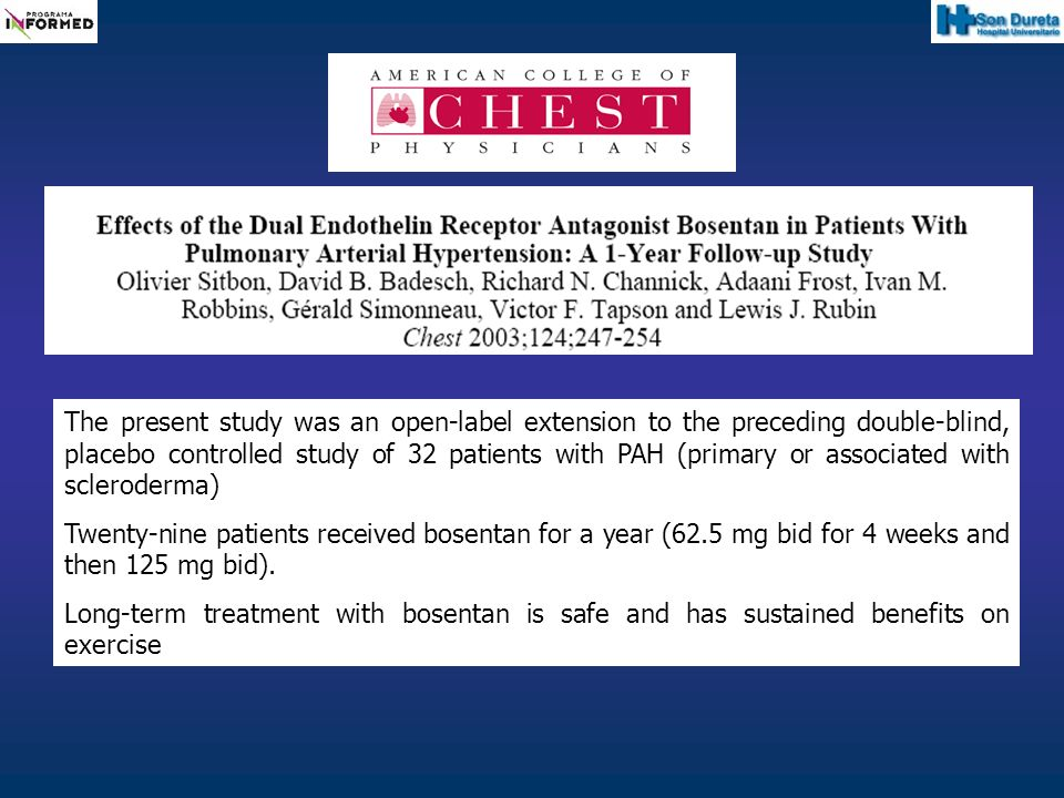 The present study was an open-label extension to the preceding double-blind, placebo controlled study of 32 patients with PAH (primary or associated with scleroderma)