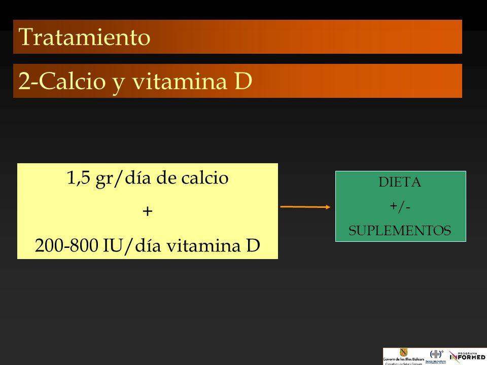 Tratamiento 2-Calcio y vitamina D 1,5 gr/día de calcio +