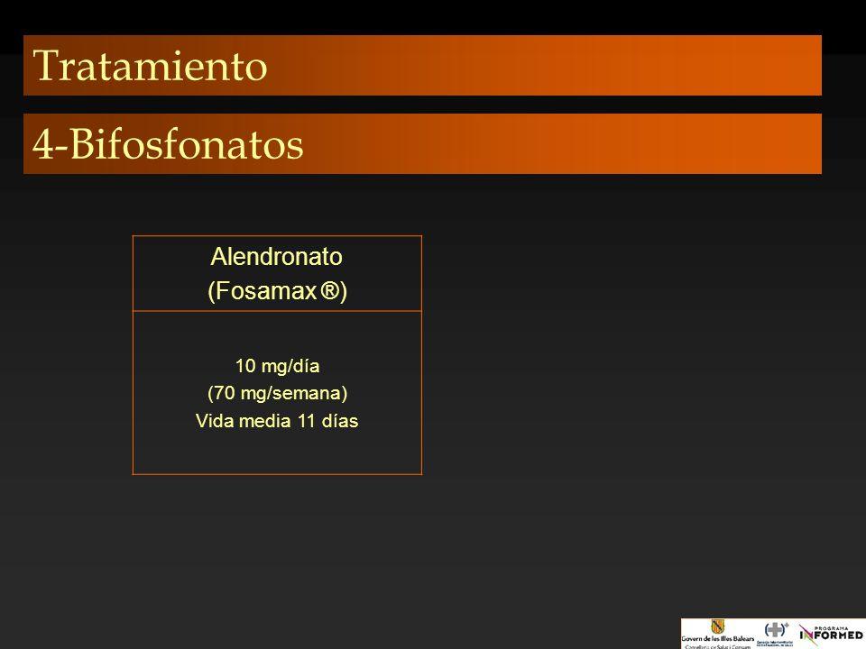 Tratamiento 4-Bifosfonatos Alendronato (Fosamax ®) 10 mg/día
