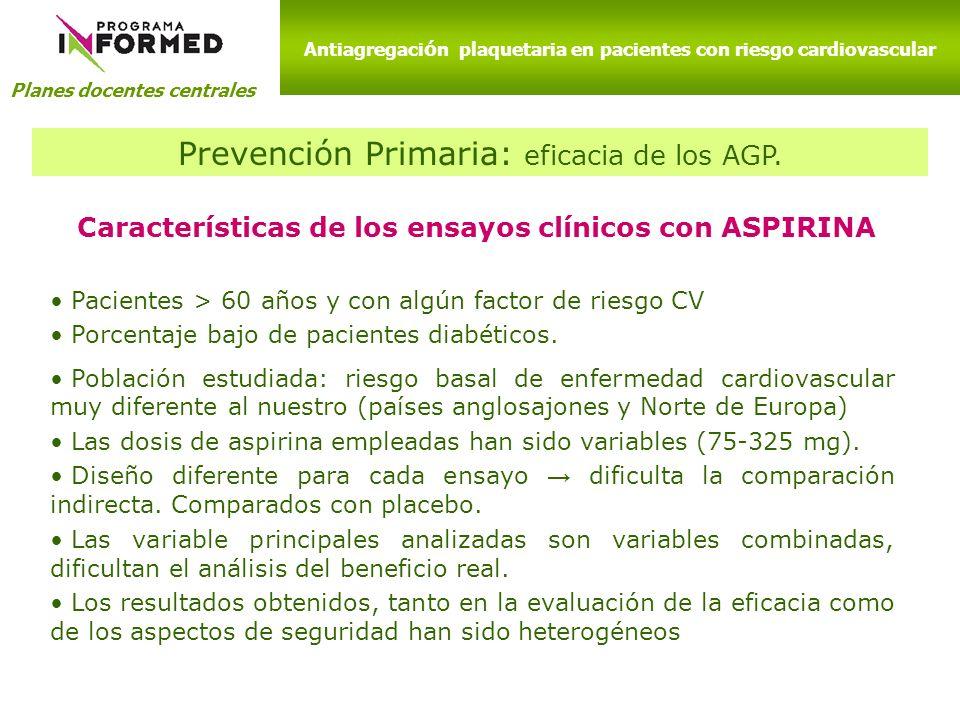 Prevención Primaria: eficacia de los AGP.