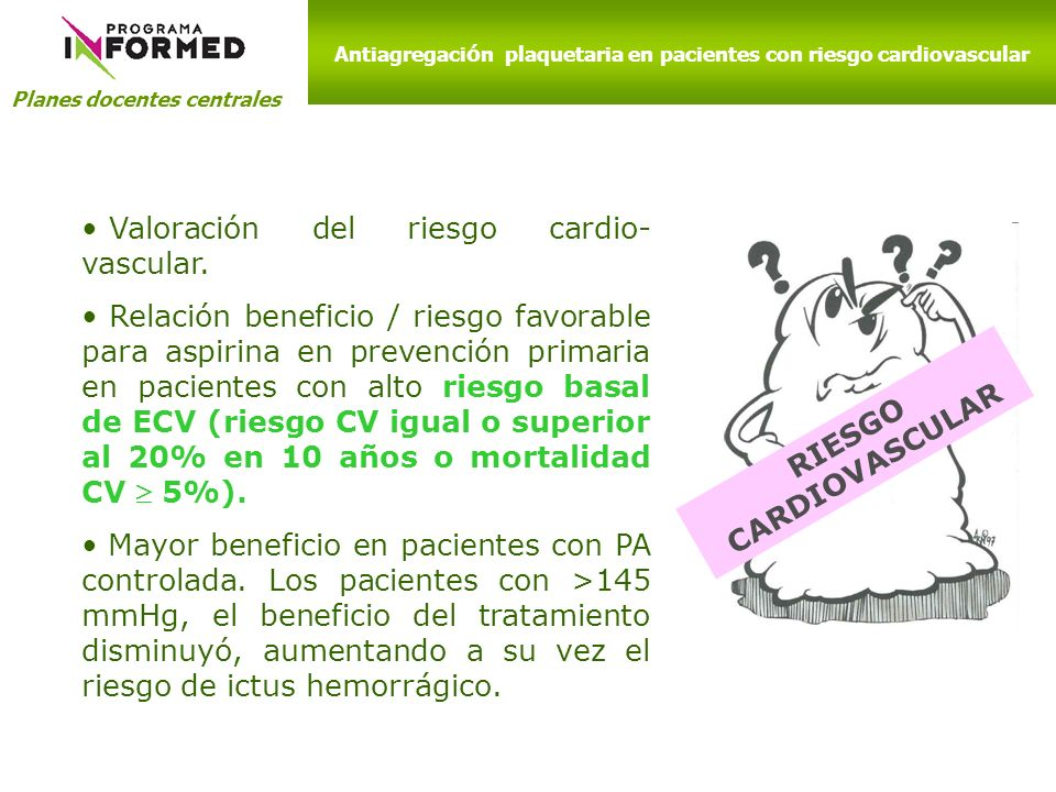 Antiagregación plaquetaria en pacientes con riesgo cardiovascular