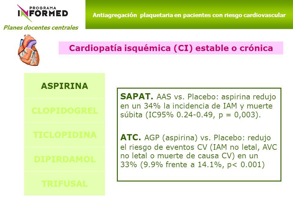 Cardiopatía isquémica (CI) estable o crónica ASPIRINA