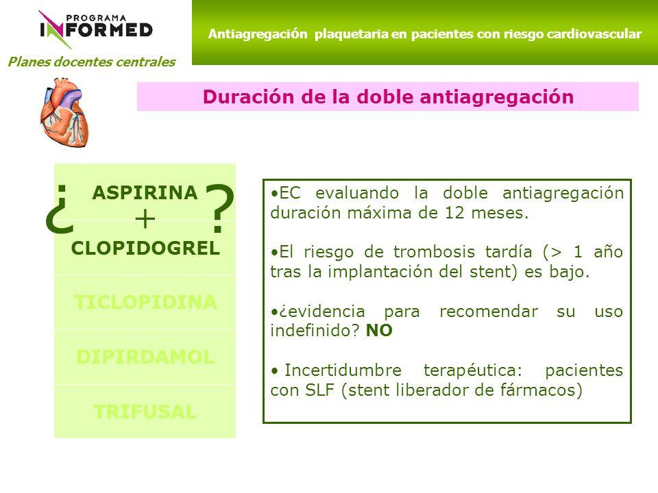 ¿ + ASPIRINA Duración de la doble antiagregación CLOPIDOGREL