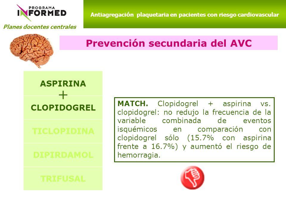 + Prevención secundaria del AVC ASPIRINA CLOPIDOGREL TICLOPIDINA
