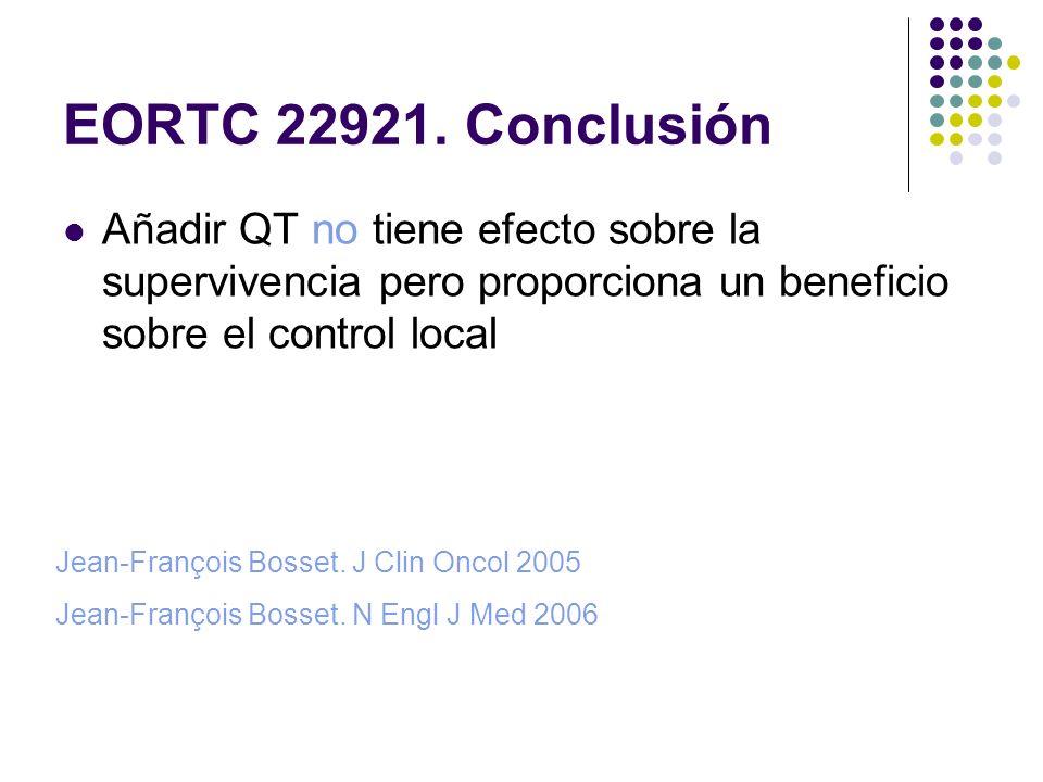 EORTC 22921. Conclusión Añadir QT no tiene efecto sobre la supervivencia pero proporciona un beneficio sobre el control local.