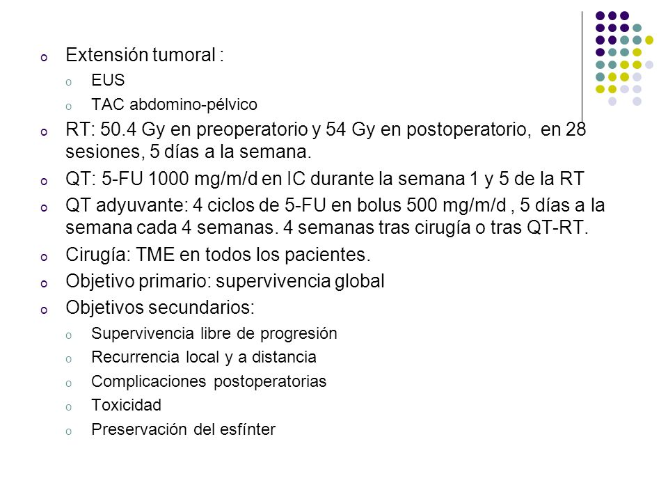 QT: 5-FU 1000 mg/m/d en IC durante la semana 1 y 5 de la RT