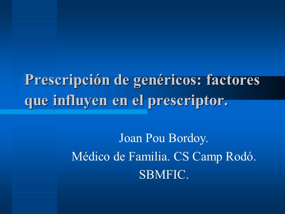 Prescripción de genéricos: factores que influyen en el prescriptor.