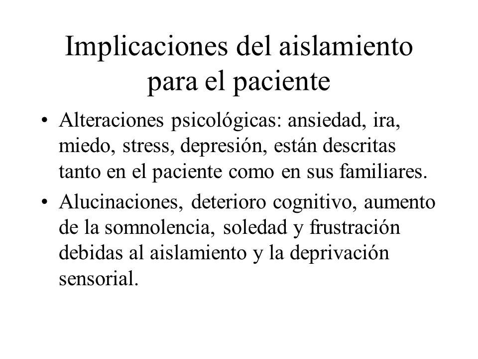 Implicaciones del aislamiento para el paciente