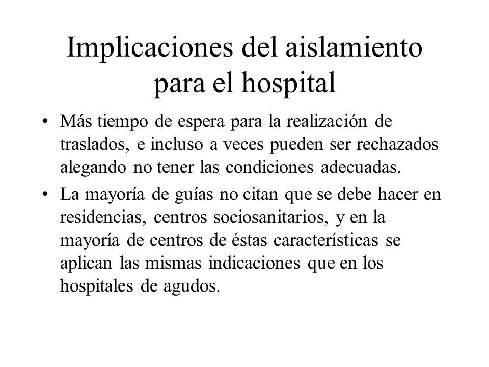 Implicaciones del aislamiento para el hospital