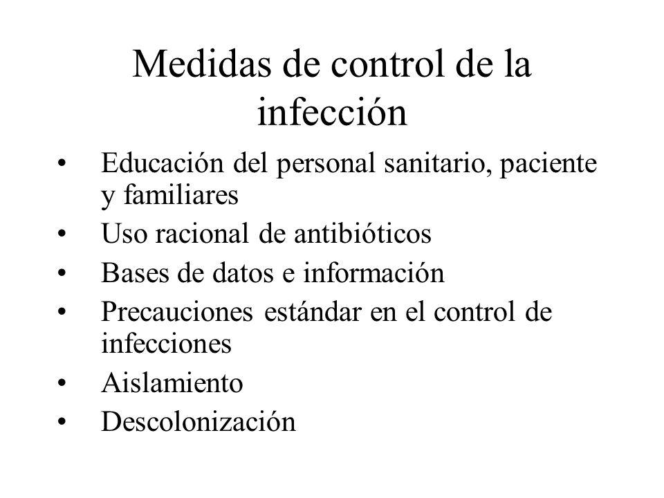 Medidas de control de la infección