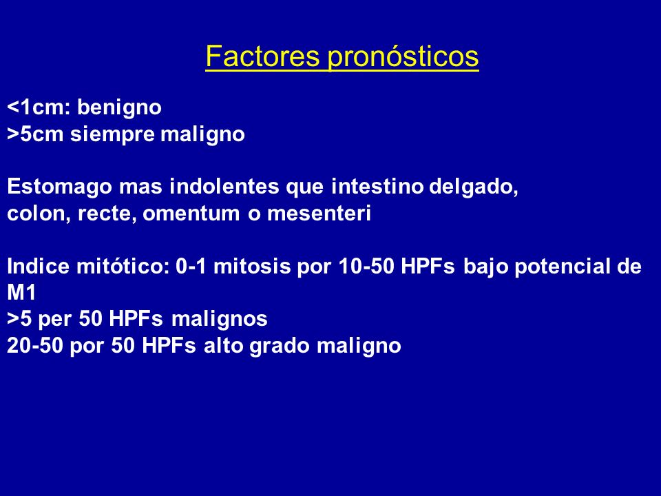 Factores pronósticos <1cm: benigno >5cm siempre maligno