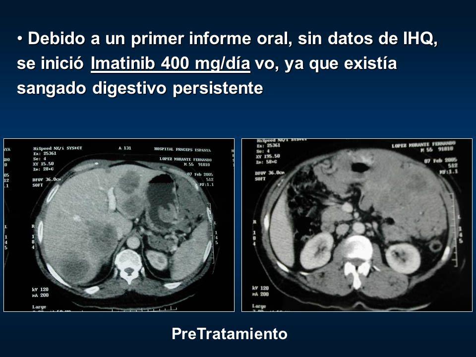 Debido a un primer informe oral, sin datos de IHQ, se inició Imatinib 400 mg/día vo, ya que existía sangado digestivo persistente