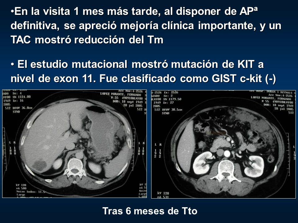 En la visita 1 mes más tarde, al disponer de APª definitiva, se apreció mejoría clínica importante, y un TAC mostró reducción del Tm