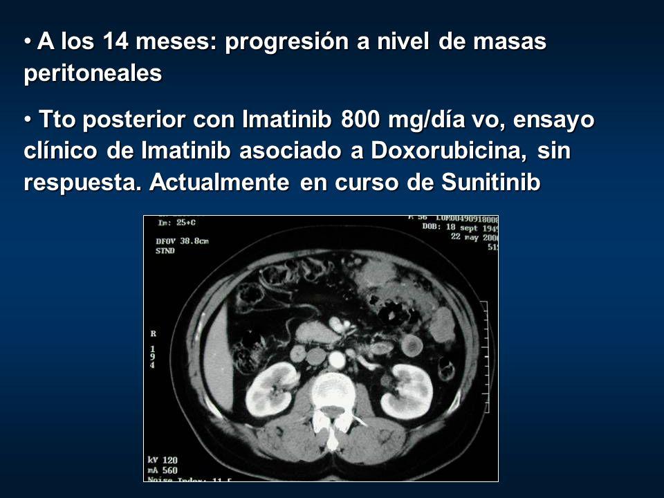 A los 14 meses: progresión a nivel de masas peritoneales