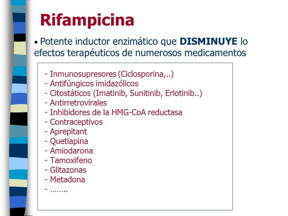 Rifampicina Potente inductor enzimático que DISMINUYE lo efectos terapéuticos de numerosos medicamentos.