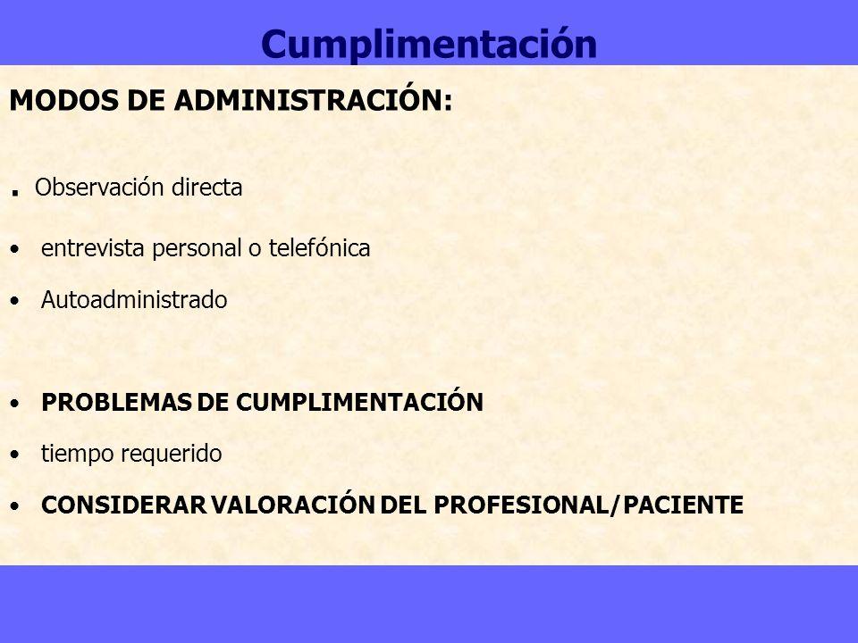 . Observación directa Cumplimentación MODOS DE ADMINISTRACIÓN: