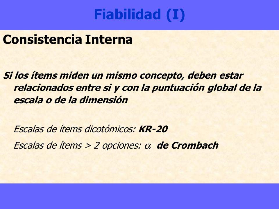 Fiabilidad (I) Consistencia Interna