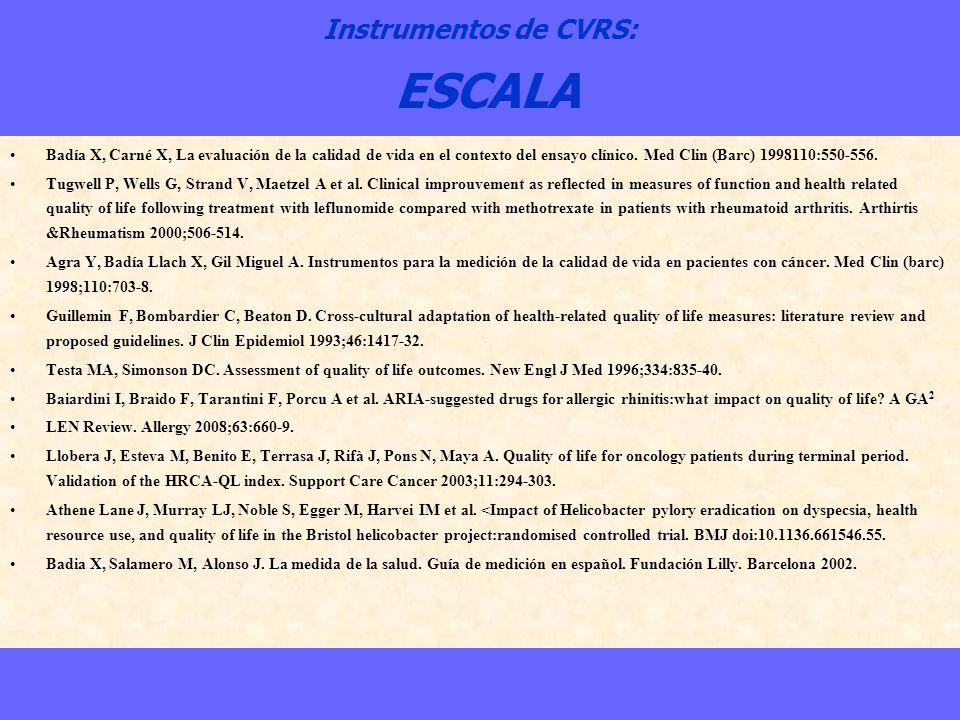 Instrumentos de CVRS: ESCALA