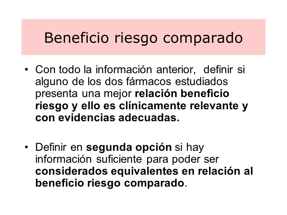 Beneficio riesgo comparado