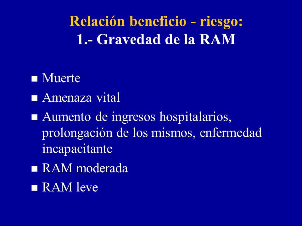 Relación beneficio - riesgo: 1.- Gravedad de la RAM