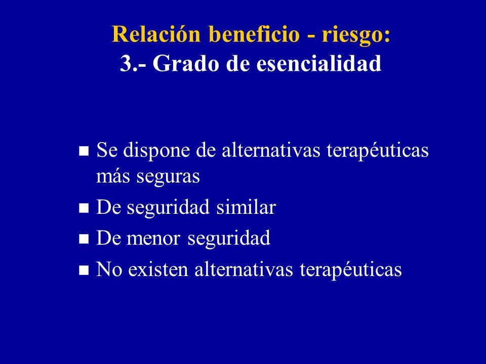 Relación beneficio - riesgo: 3.- Grado de esencialidad