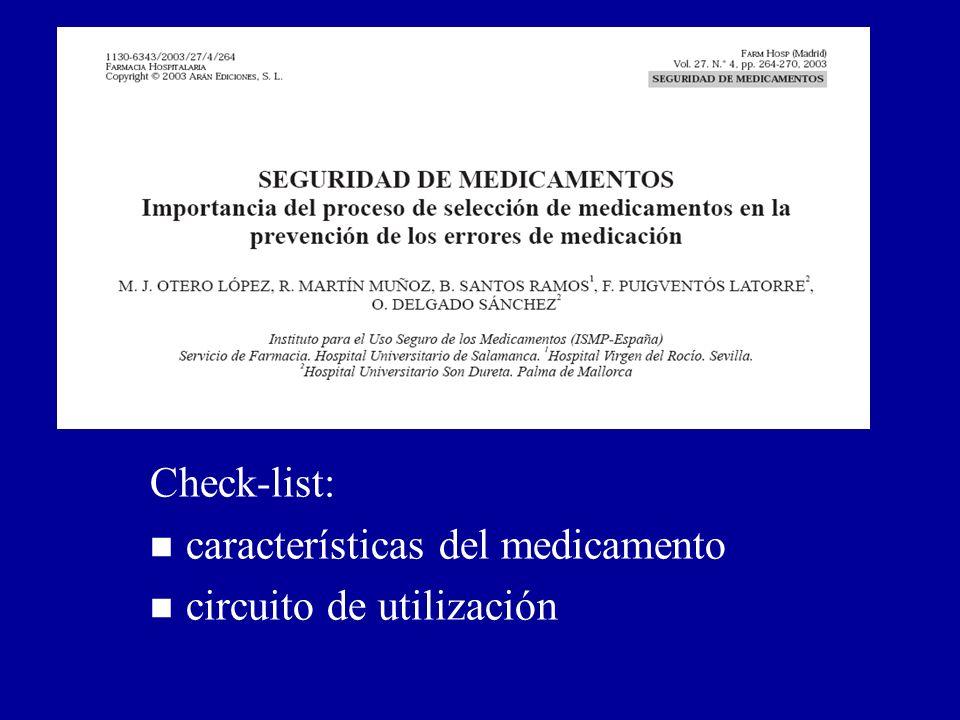 Prevención de errores de medicación en el proceso de selección (II): Otero et al. Farm Hosp 2003; 27: 264-270.