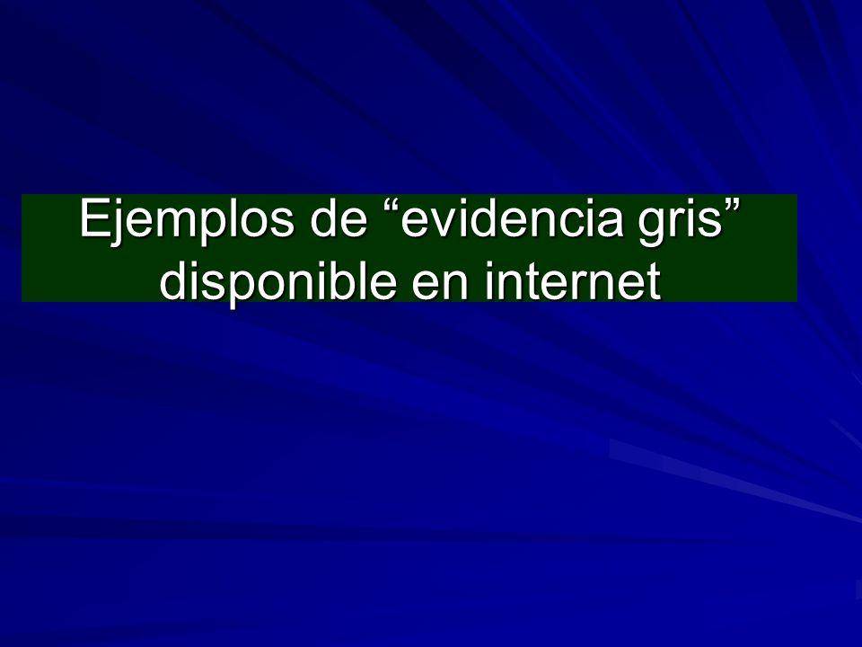 Ejemplos de evidencia gris disponible en internet
