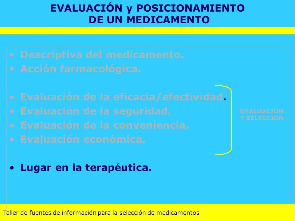 EVALUACIÓN y POSICIONAMIENTO DE UN MEDICAMENTO
