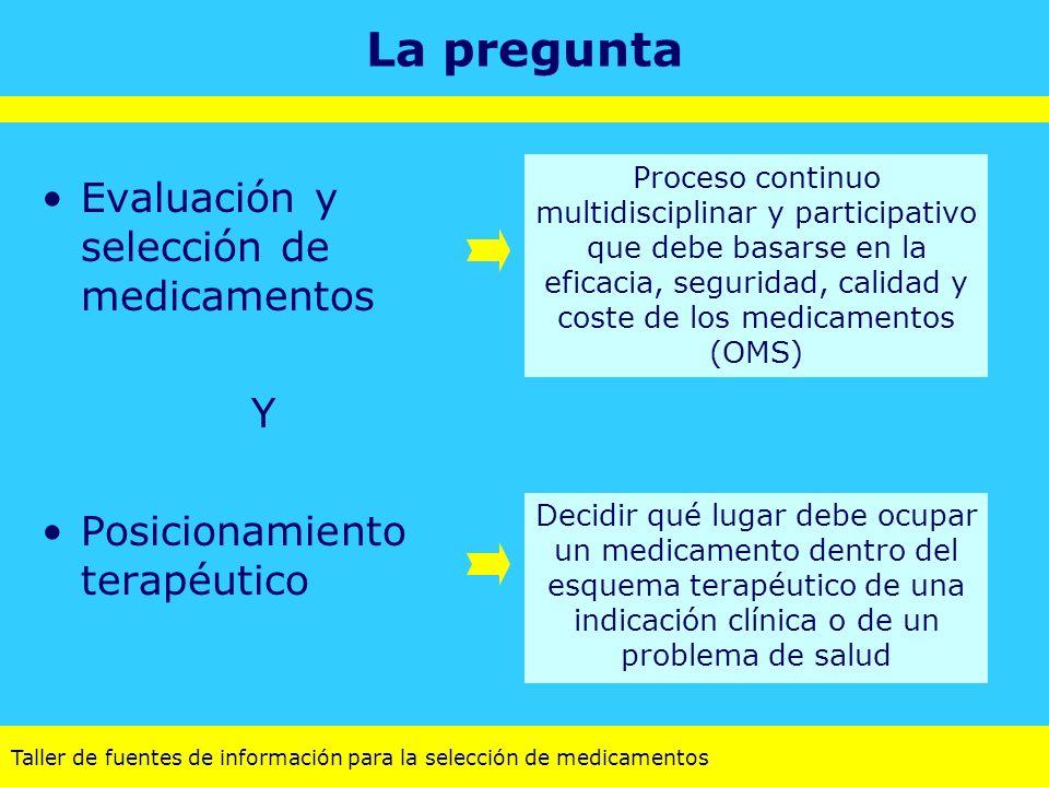 La pregunta Evaluación y selección de medicamentos Y