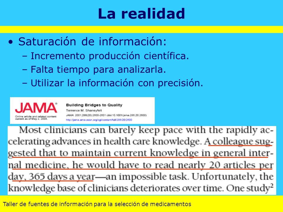 La realidad Saturación de información: