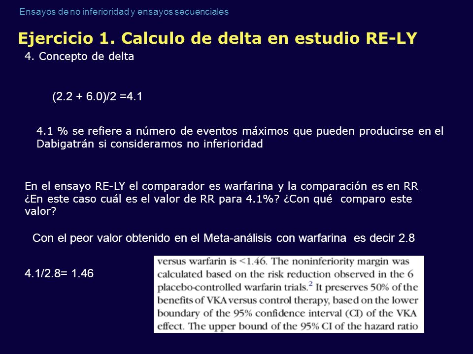 Ejercicio 1. Calculo de delta en estudio RE-LY