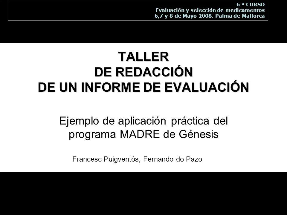 TALLER DE REDACCIÓN DE UN INFORME DE EVALUACIÓN