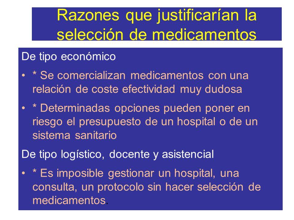 Razones que justificarían la selección de medicamentos