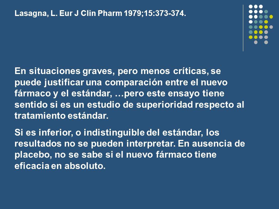 Lasagna, L. Eur J Clin Pharm 1979;15:373-374.