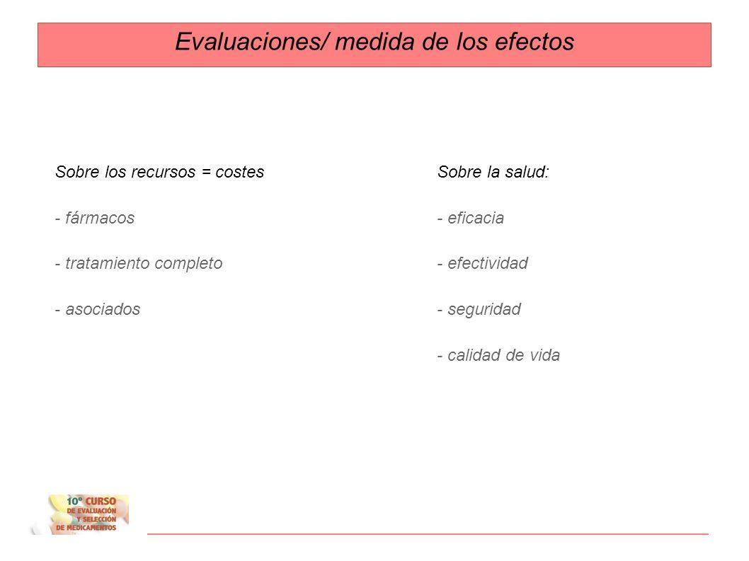 Evaluaciones/ medida de los efectos