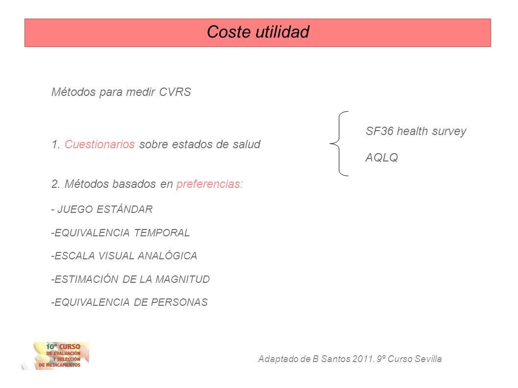Coste utilidad Métodos para medir CVRS
